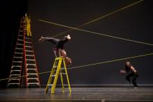 """A scene from Amy Myers' performance of """"Einstein's Happiest Dance.""""(Photo by Christopher Duggan)"""