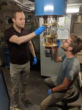Serge Rosenblum (left) and Philip Reinhold, co-lead authors of a new study on a fault-tolerant quantum error correction system.